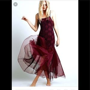 Free People Burgundy Lace Maxi